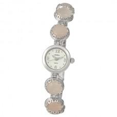 """Женские серебряные часы """"Весна"""" 44107.106 розовый кварц"""