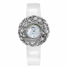 Часы на кожаном ремне 1143S-B6L1 с накладкой из серебра 925 пробы
