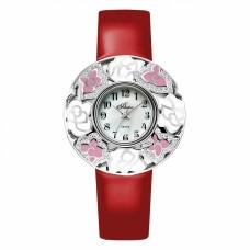Часы на кожаном ремне 1143S19-B6L2 с накладкой из серебра 925 пробы