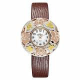 Часы на кожаном ремне 1143S20-B8L2 с накладкой из серебра 925 пробы
